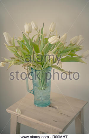 Vase of tulips - Stock Image