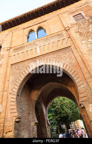 Puerta del Vino at the Alhambra Palace in Granada Spain - Stock Image
