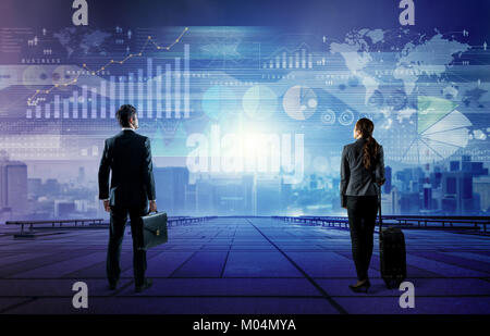 businessman and businesswoman looking at business information. abstract mixed media. - Stock Image