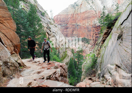 Couple hiking on Hidden Canyon trail in Zion National Park, Utah, USA. - Stock Image