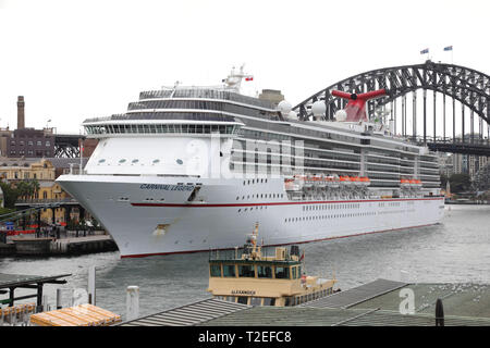 Carnival Legend cruise liner docked at the Overseas Passenger Terminal in Sydney, Australia. - Stock Image