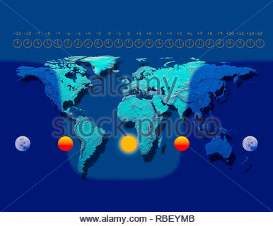 World time zones map showing UTC time offsets hours and night and day terminator on a time zone world map - Stock Image