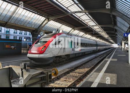 High Speed Train in the Main Railway Terminal, Zurich, Switzerland - Stock Image