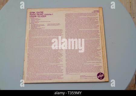 1970 album of Erik Satie piano pieces played by  Frank Glazer - Stock Image