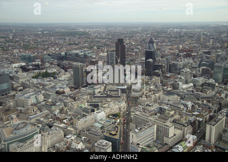 Aerial view of the Bank area of the City of London featuring the Bank of England, the Stock Exchange and the Royal Exchange - Stock Image