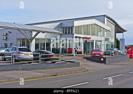 The Sinclair Audi main dealer car sales showroom and maintenance / servicing centre in Tremains Road, Bridgend. New & used vehicles. - Stock Image
