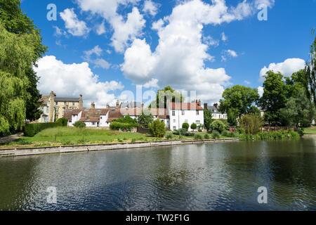 Riverside properties along river Cam Cambridge 2019 - Stock Image