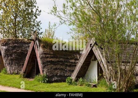 Reconstructed houses at the openair Viking museum at Trelleborg, Slagelse, Zealand, Denmark - Stock Image