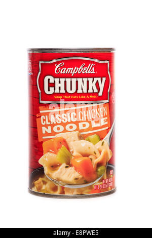 Campbell's brand Chunky Classic Chicken Noodle Soup - Stock Image