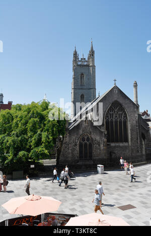 People walking in Cardiff city centre Wales UK - Stock Image