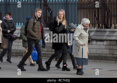 The veteran Liberal Democrat politician, Baroness Williams of Crosby, Shirley Williams, walks unnoticed by others with the aide of a walking stick towards the House of Lords, on 14th January 2019, in Westminster, London, England. - Stock Image