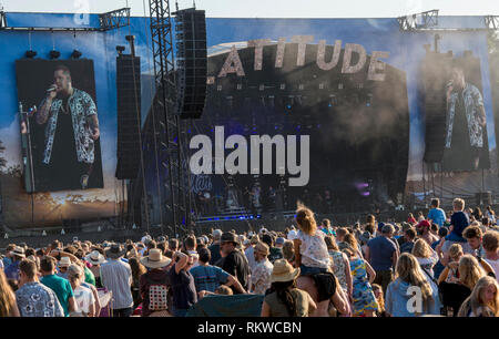 Wide shot of the Obelisk Stage while Rag 'n' Bone Man is performing live at the Latutude Festival 2018 with a big crowd watching. - Stock Image
