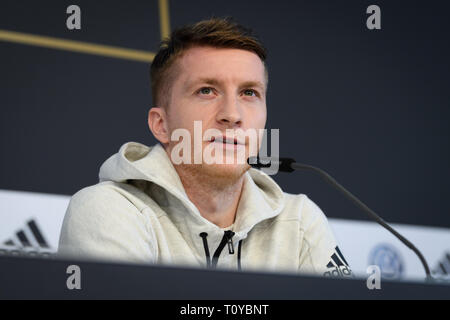 Marco Reus (Germany). GES/Soccer/National Team: Press Conference of the German National Team in Wolfsburg, 22.03.2019 Football/Soccer: National Team: Press Conference of the German National Team in Wolfsburg, March 22, 2019 | usage worldwide - Stock Image