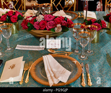 Acting Secretary of State John Sullivan's table setting at the state luncheon he co-hosted with Vice President Mike Pence in honor of the visit of French President Emmanuel Macron at the U.S. Department of State in Washington, D.C. on April 24, 2018. - Stock Image