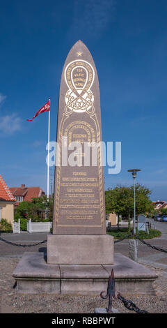 Mindestøtten memorial erected on Oddevej in Skagen Jutland Denmark in memory of eight fishermen lost in a rescue attempt of vessel Daphne - Stock Image