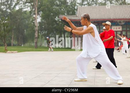 An old man takes part in Qigong at Shuishang Park, Tianjin, China. - Stock Image