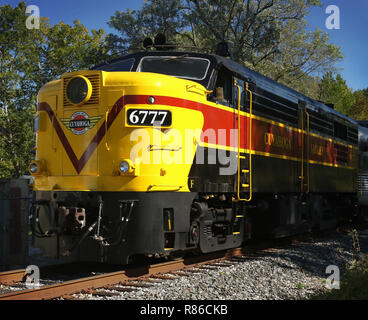 Diesel locomotive MLW/ALCOA FPA-4 number CVSR 6777. Operated as special event on the Cuyahoga Valley Scenic Railroad. Boston Mills Station, Cuyahoga V - Stock Image