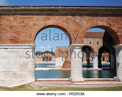 The Venetian shipyard buildings - Gaggiandre - at Arsenale: Venice. - Stock Image