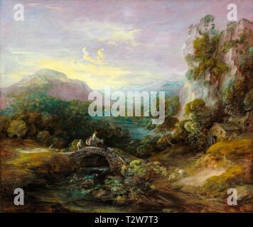 Thomas Gainsborough, Mountain Landscape with Bridge, painting, c. 1783 - Stock Image