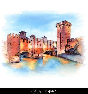 Scaliger Bridge in Verona, Italy. - Stock Image