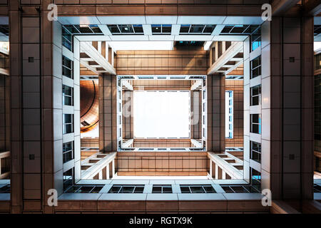 TOKYO, JAPAN - December 5, 2018: Bottom view on Headquarters of Fuji TV at Odaiba island. Fuji TV Studios building was designed by famous Kenzo Tange  - Stock Image