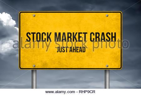 Stock Market Crash ahead- road sign warning - Stock Image