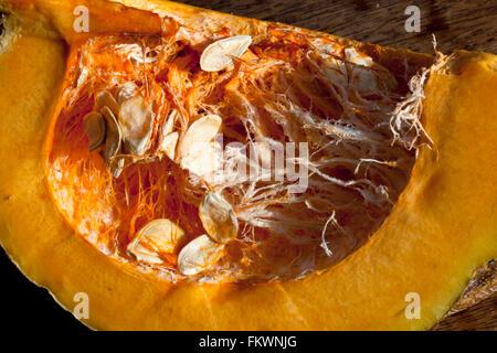 slice through an edible large squash - Stock Image