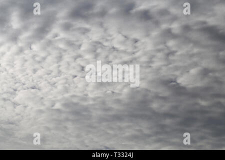 Lovely white and grey clouds covering the sky. Beautiful nature details. - Stock Image