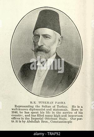 Vintage photograph of H.E. Turkhan Pasha, Ottoman ambassador, 1902 - Stock Image