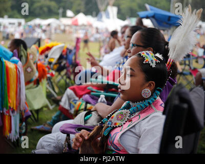 Southhampton, United States of America. 03rd, Sep 2018. A Native American prepares to dance during the celebration of the 72nd annual Shinnecock Indian Powwow over the Labour Day weekend in Southampton Long Island New York in Southhampton, United States of America, 03 September 2018. (PHOTO) Alejandro Sala/Alamy News - Stock Image