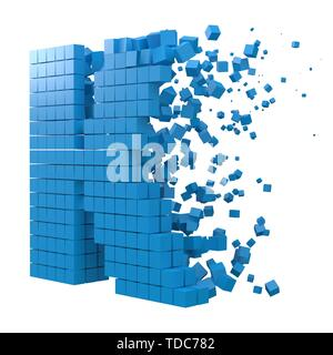 letter K shaped data block. version with blue cubes. 3d pixel style vector illustration. suitable for blockchain, technology, computer and abstract th - Stock Image