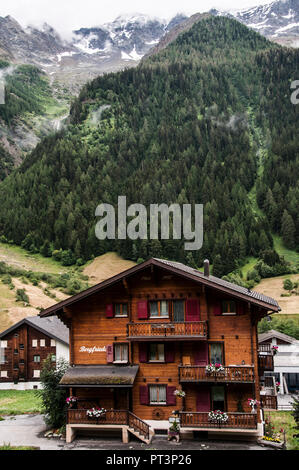 Traditional wooden chalet in the Loetschental, Valais, Switzerland - Stock Image