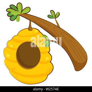 beehive honey wax nest agriculture wild illustration  branch - Stock Image