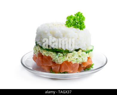 Salmon  tartare with avocado and rice isolated on white - Stock Image