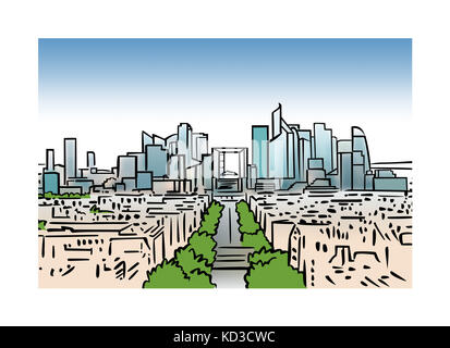 Illustration of the skyline of La Defense in Paris, France - Stock Image