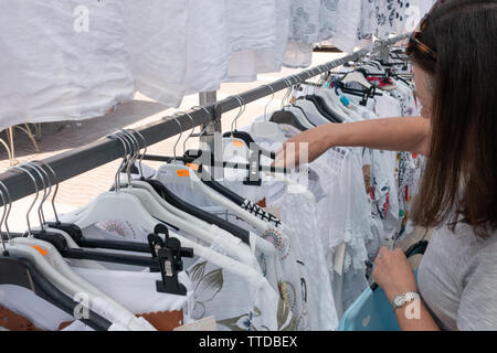 Woman browsing at a local spanish market - Stock Image