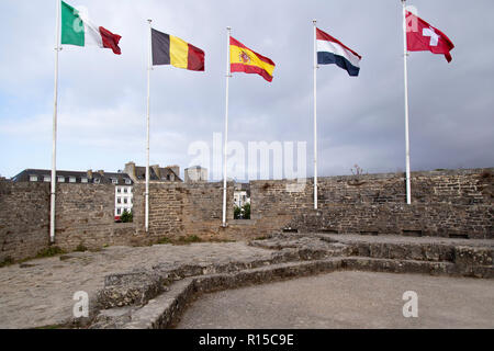 The Battlements Walkway of Ville Close and flags - Stock Image