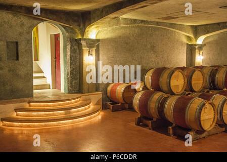 South West France, PDO wine Graves de Pessac-Leognan vineyard,  barrels storehouse. Mandatory credit:  Smith-Haut-Lafitte castle - Stock Image