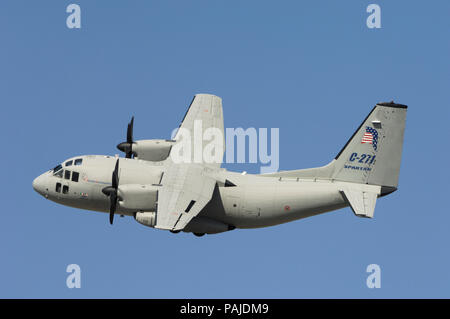Italy - AirForce Alenia C-27J Spartan flying-display at the Dubai AirShow 2007 - Stock Image