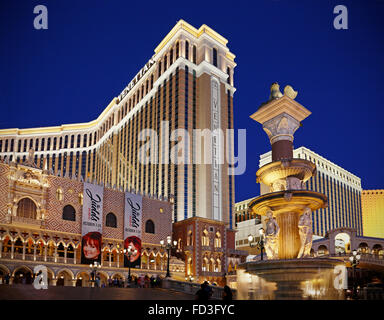 The Venetian hotel in Las Vegas, Nevada, at night. - Stock Image