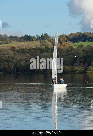 Lochwinnoch, UK. 14 October 2018. Europe. A fine Autumn sunny day on Castle Semple with temperatures in the low to mid teens, but very little wind made sailing difficult at times. Credit: Douglas Carr/Alamy Live News - Stock Image