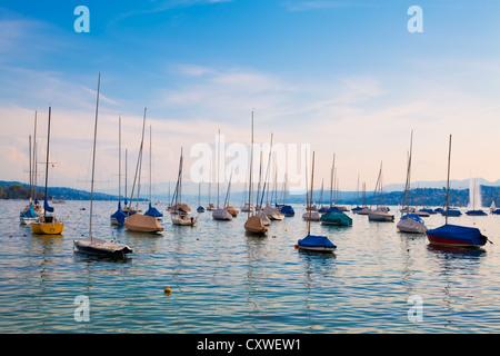 Boats moored on Lake Zurich, Switzerland - Stock Image