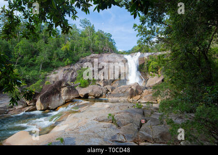 Scenic view of Unesco World Heritage-listed Murray Falls on the Murray River, Girramay National Park, Cassowary Coast; Far North Queensland, FNQ, QLD, - Stock Image