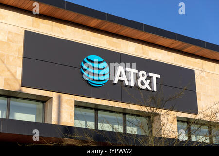 AT&T sign on building - Stock Image