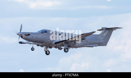 Finnish Air Force Pilatus PC-12 NG liaison aircraft flying at the 100 year anniversary air show of the FAF at Tikkakoski in 2018. - Stock Image