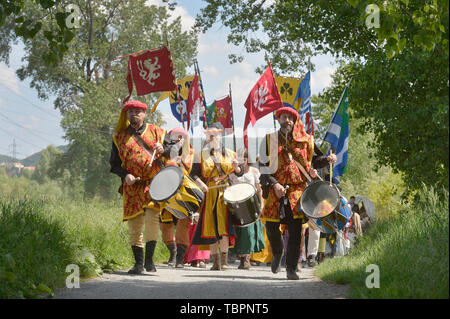 Prague, Czech Republic. 01st June, 2019. A two-day historic royal procession of emperor Charles IV and his suite with crown jewels sets out from Prague to Karlstejn Castle, Czech Republic, on June 1, 2019. Credit: Michaela Rihova/CTK Photo/Alamy Live News - Stock Image