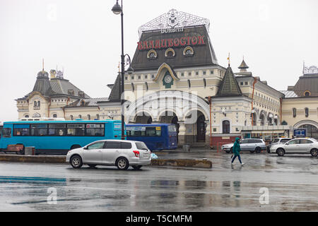 Vladivostok. 23rd Apr, 2019. Photo taken on April 23, 2019 shows the vintage railway station in Vladivostok, Russia. Russian President Vladimir Putin and the top leader of the Democratic People's Republic of Korea (DPRK) Kim Jong Un will meet on Thursday in Russia's Far East city of Vladivostok, Kremlin aide Yuri Ushakov said Tuesday. Credit: Bai Xueqi/Xinhua/Alamy Live News - Stock Image