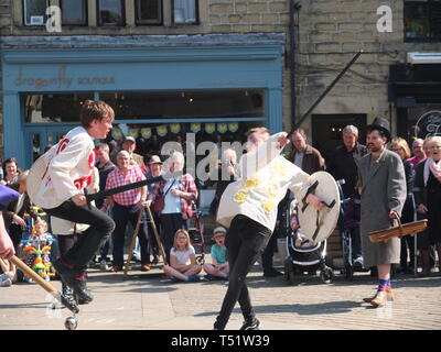 Sword fight in the Midgley Pace Egg Play at Hebden Bridge, a traditional mumming play performed for hundreds of years in the Calder Valley - Stock Image