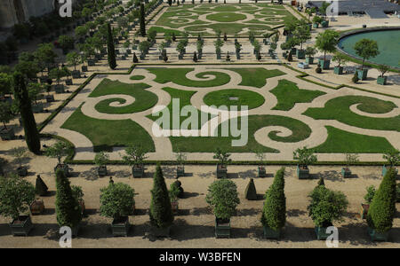 Beautiful garden in a Famous palace Versailles. The Palace Versailles was a royal castle . Paris, France. - Stock Image