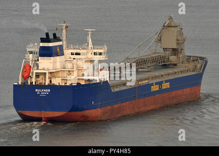 Self-discharging bulkcarrier Bulknes - Stock Image